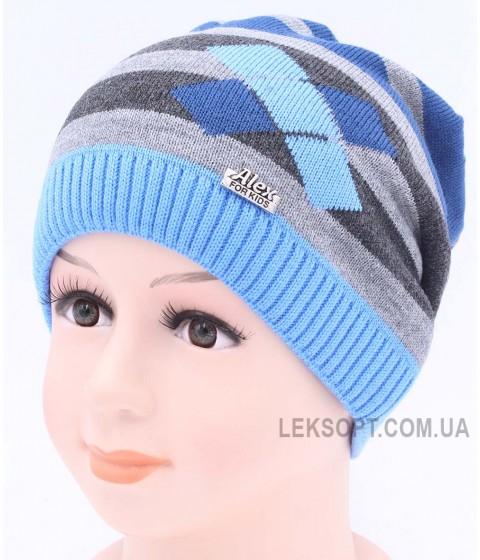 Детская вязаная шапка Ромбы D42423-46-50