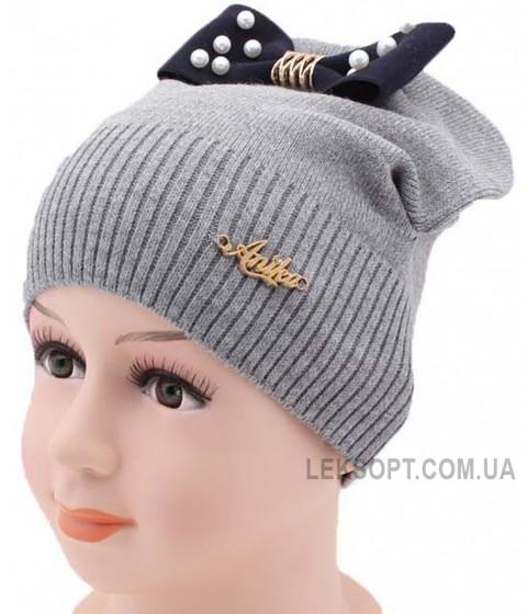 Детская трикотажная шапка Ушки-бантик