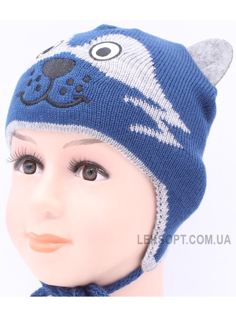 Детская вязаная шапка Енот D54030-42-46