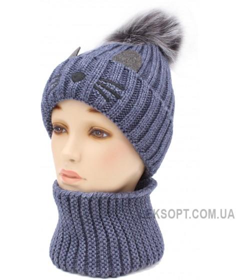 Детская вязаная шапка Кот D56452-46-50
